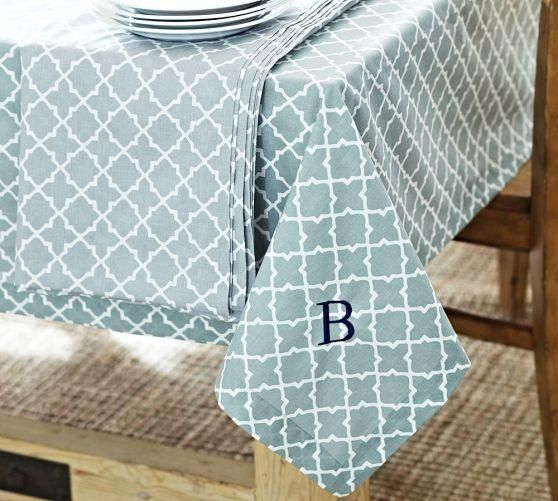 Decor/Accessories   Roz Tile Tablecloth | Pottery Barn   Blue And White  Tile Print