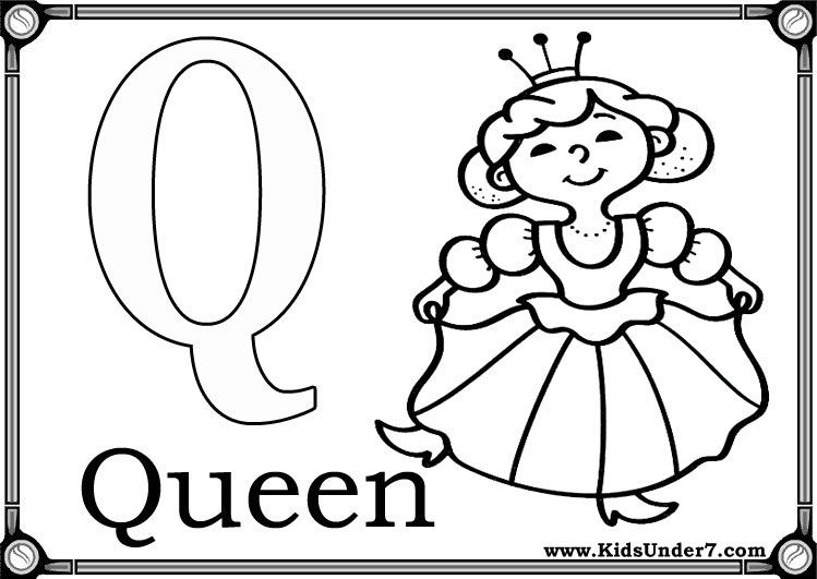 Letter Q (Queen) Coloring Sheets