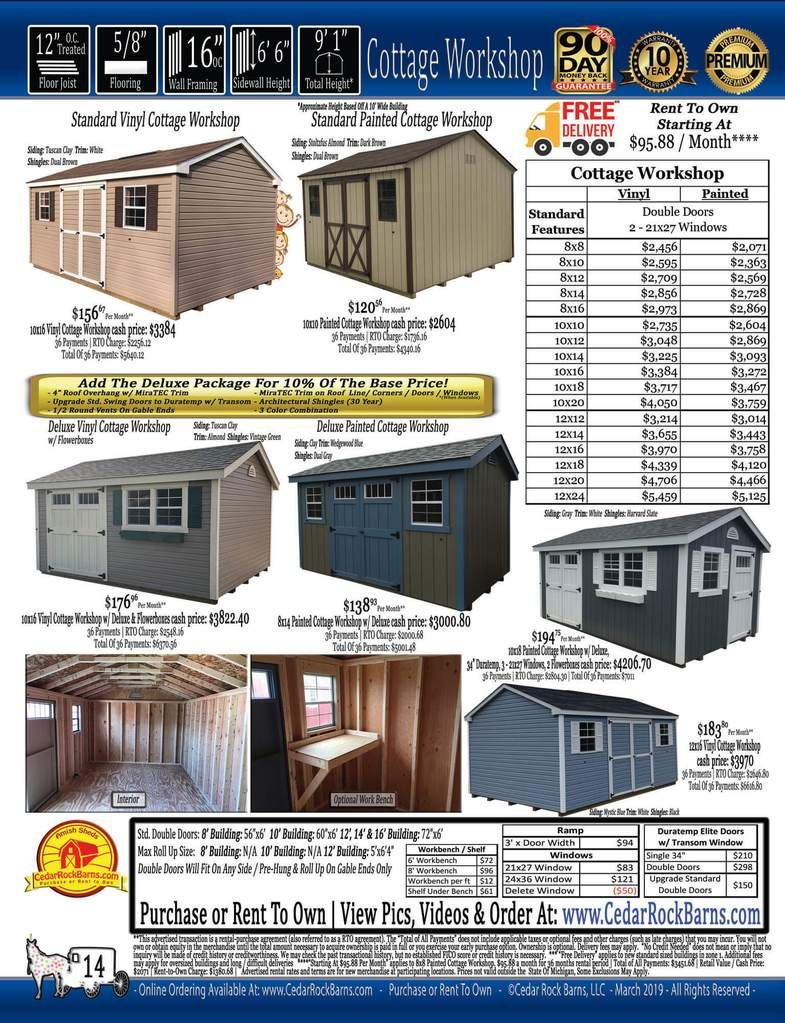 Cottage Workshop Painted W Deluxe Pkg Shed Prices Portable Buildings Portable Storage Buildings