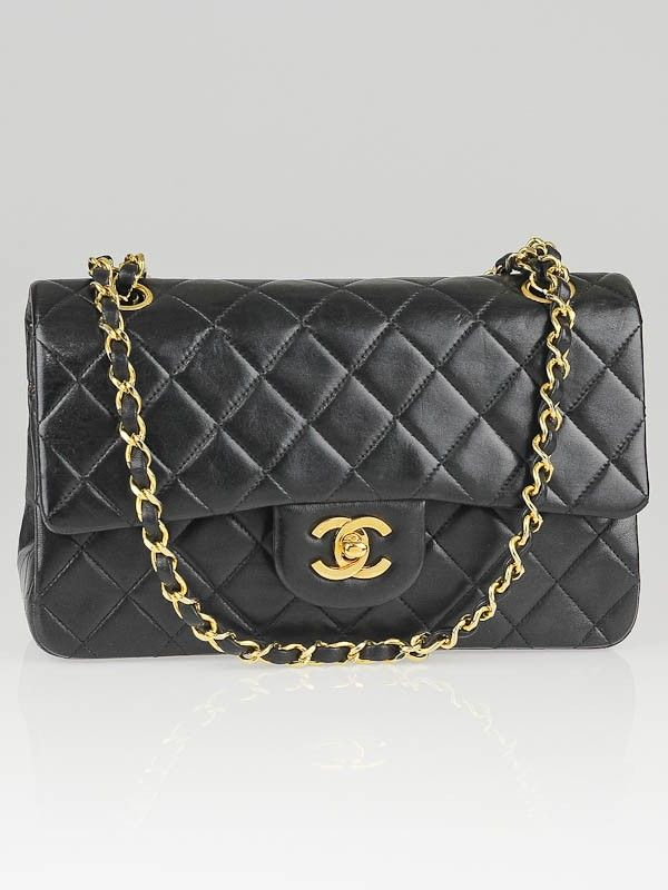 2ebba97cbeff Chanel Vintage Black Quilted Lambskin Leather Small Classic Double Flap Bag