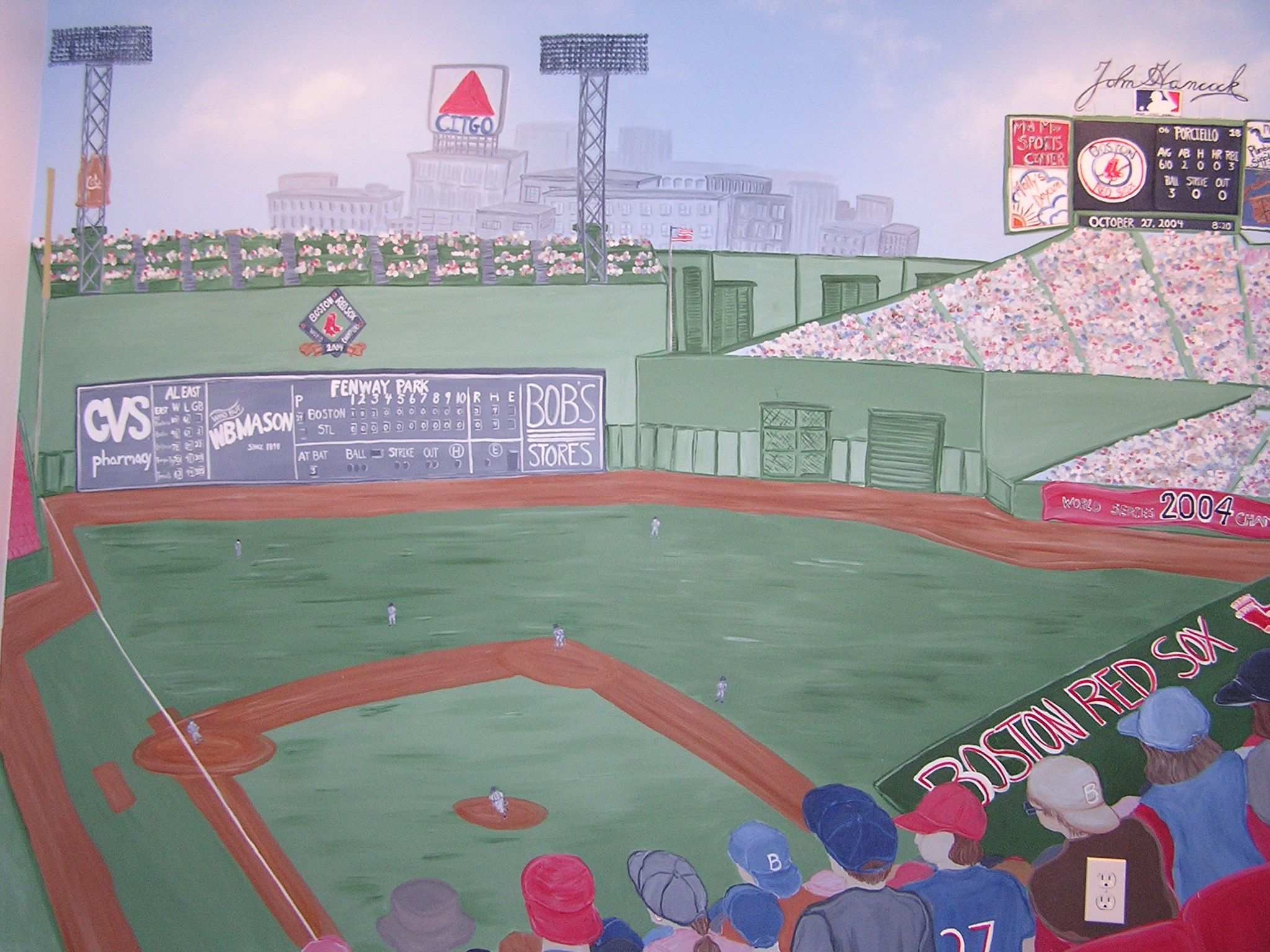 Boys Bedroom Fenway Park   Full 8x10 Wall Mural Of A Red Sox Game With View
