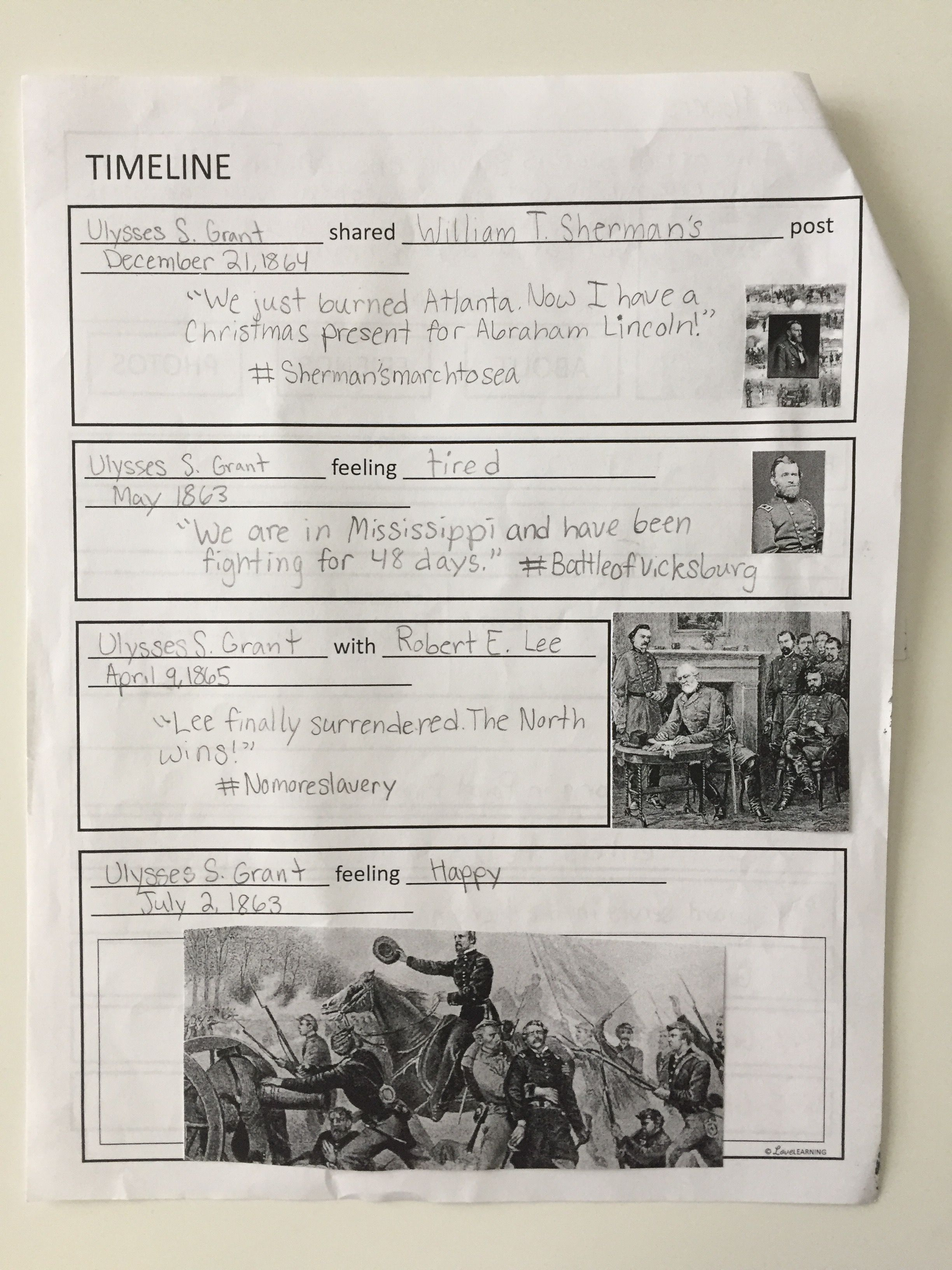 Civil War And Reconstruction Social Media Posts A Fun Worksheet Alternative