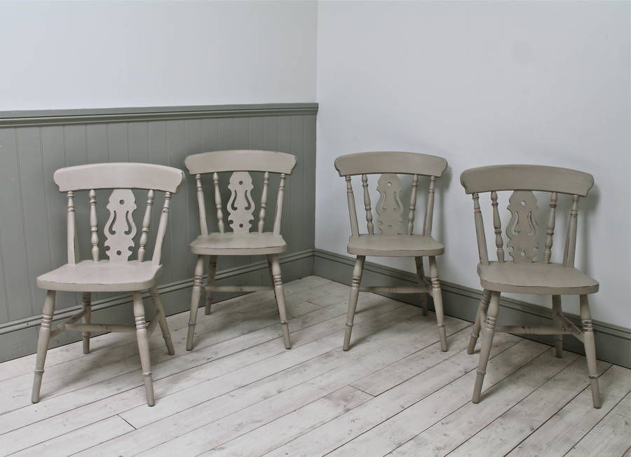 Set Of Four Distressed Fiddle Back Pine Kitchen Chairs Pine Chairs - Pine kitchen chairs for sale
