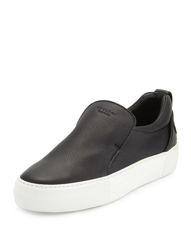 Leather Slip-On Sneakers, Black