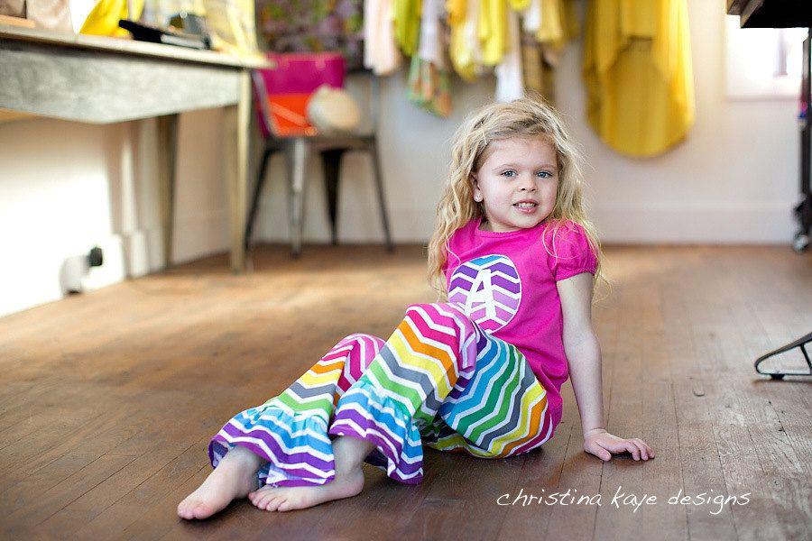 Girls rainbow chevron ruffle pants and top by ChristinaKayeDesigns, $32.00