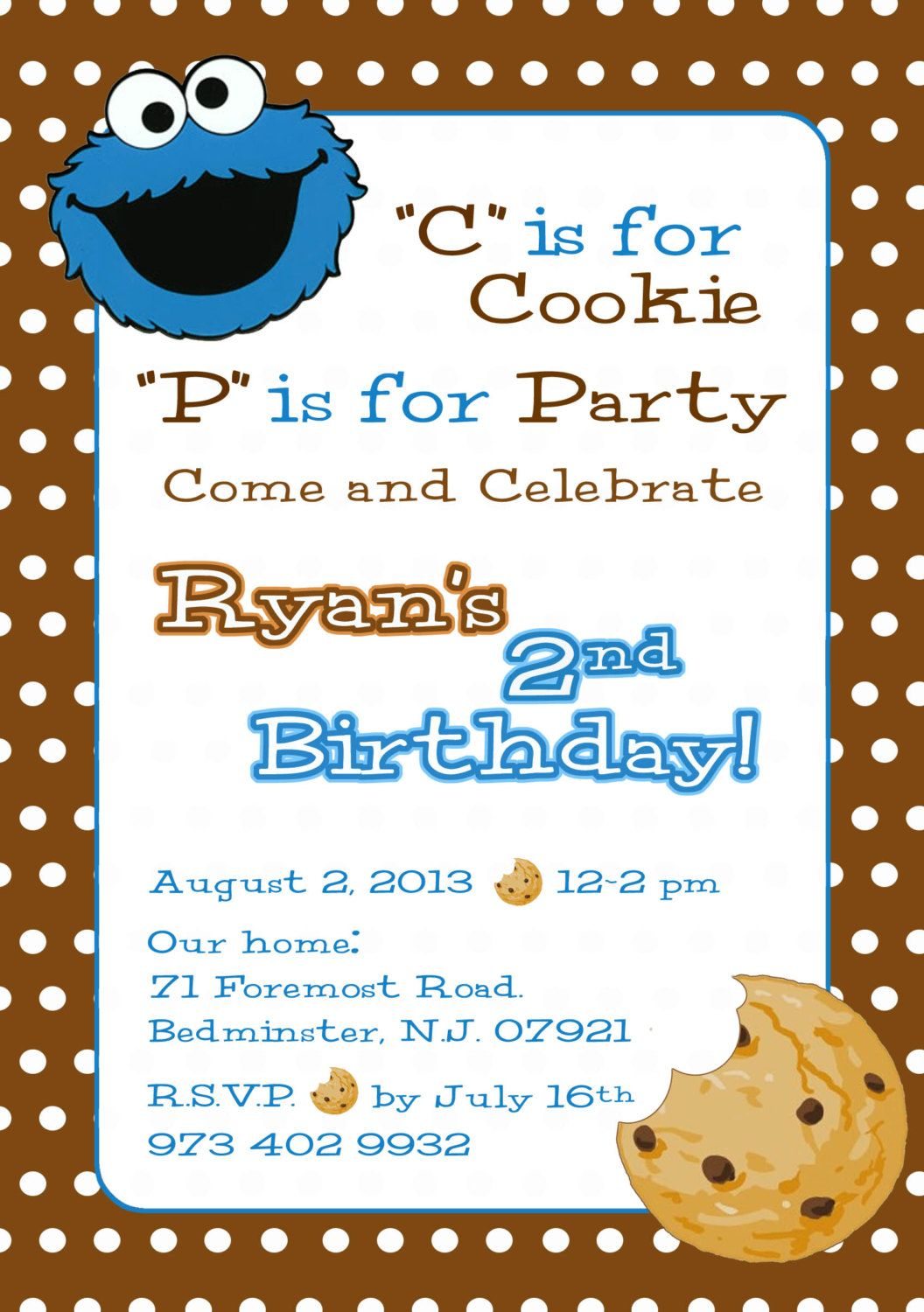 Handmade Cookie Monster Invitations File Name Il