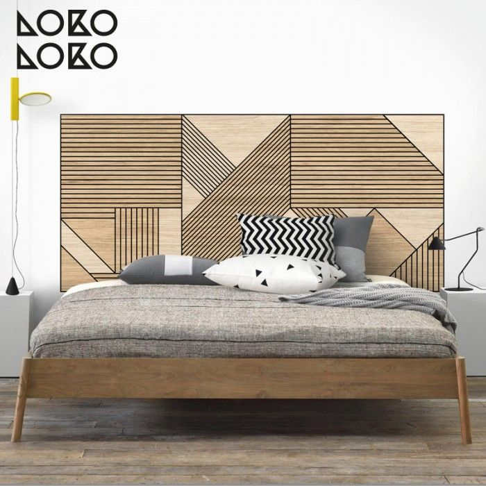 Mosaico de madera geom trica negra vinilo lavable de - Forrar cabecero de cama ...
