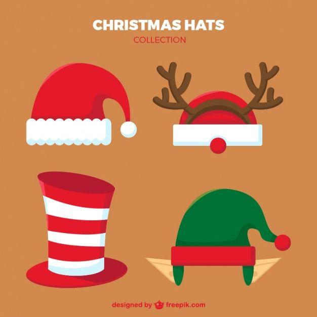 Manualidades Gorros De Navidad.Coleccion De Gorros De Navidad Vector Premium Navidad