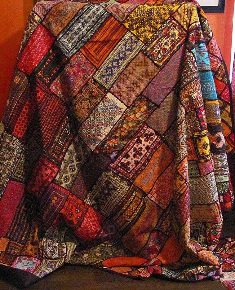 London Antique Rug Textile Art Fair: Fabulous Fair Trade, Handmade Kuchi Patchwork Tapestry