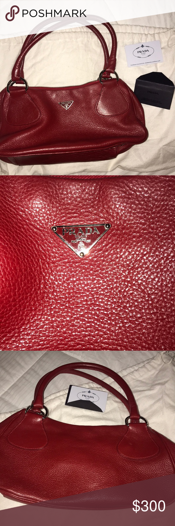 Red Prada leather handbag Red BR0830 Prada leather handbag Great condition, inside is completely clean, leather is not damaged in anyway. Comes with duffel bag and authenticity cards. Prada Bags Shoulder Bags
