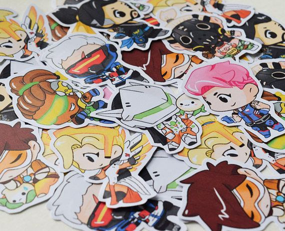Overwatch sticker sets 24 heroes available and mech suit orisa available