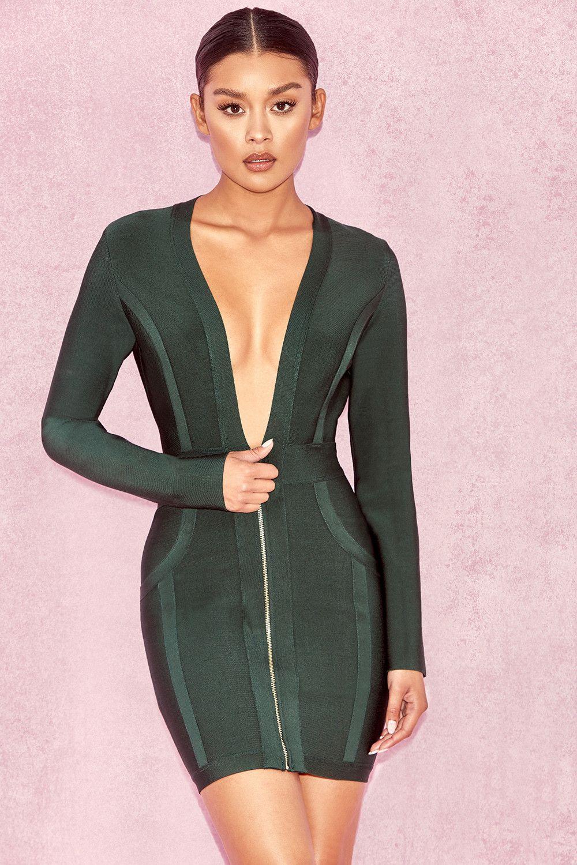 efa0c2cf7ea1e Clothing : Bandage Dresses : 'Valeria' Evergreen Deep V Front Bandage Dress