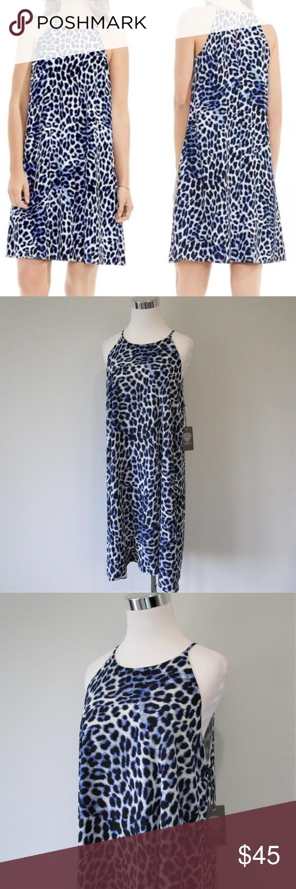 Nwt Vince Camuto Blue Leopard Halter Shift Dress Clothes Design Midi Shift Dress Shift Dress [ 1740 x 580 Pixel ]
