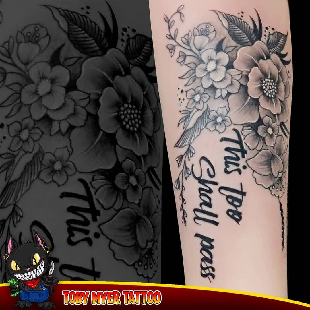 Beautiful black & grey flower tattoo on hand, done by our