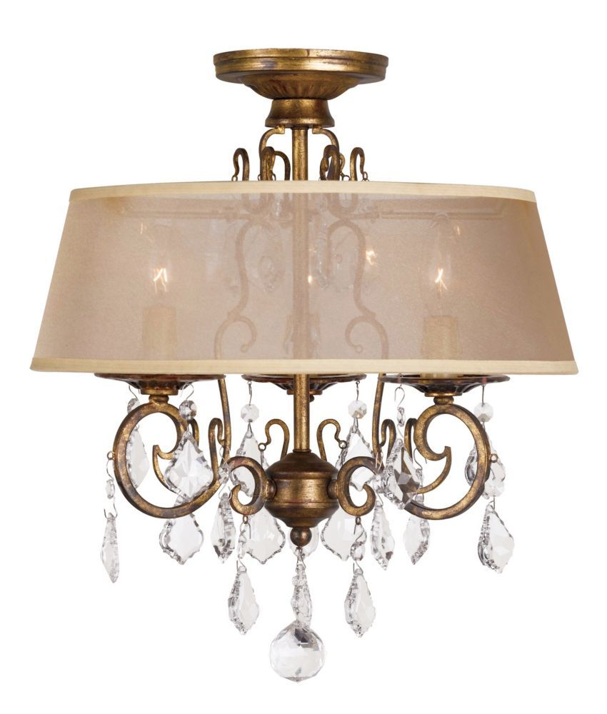 crystal flush mount chandelier. Antique Gold 15 In. 3-Light Flush Mount Chandelier Crystal G