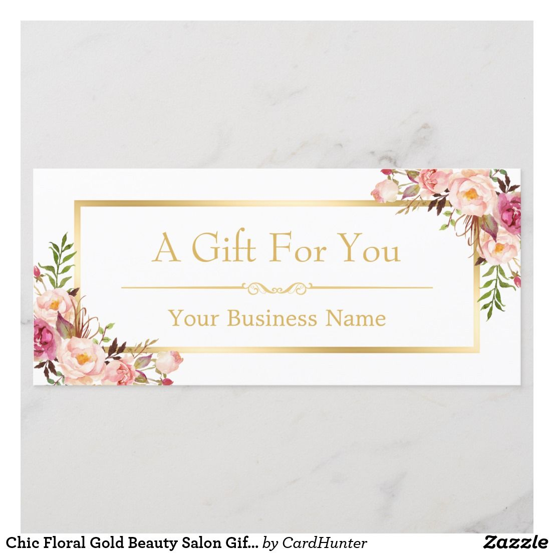 Chic Floral Gold Beauty Salon Gift Certificate  Zazzle.com