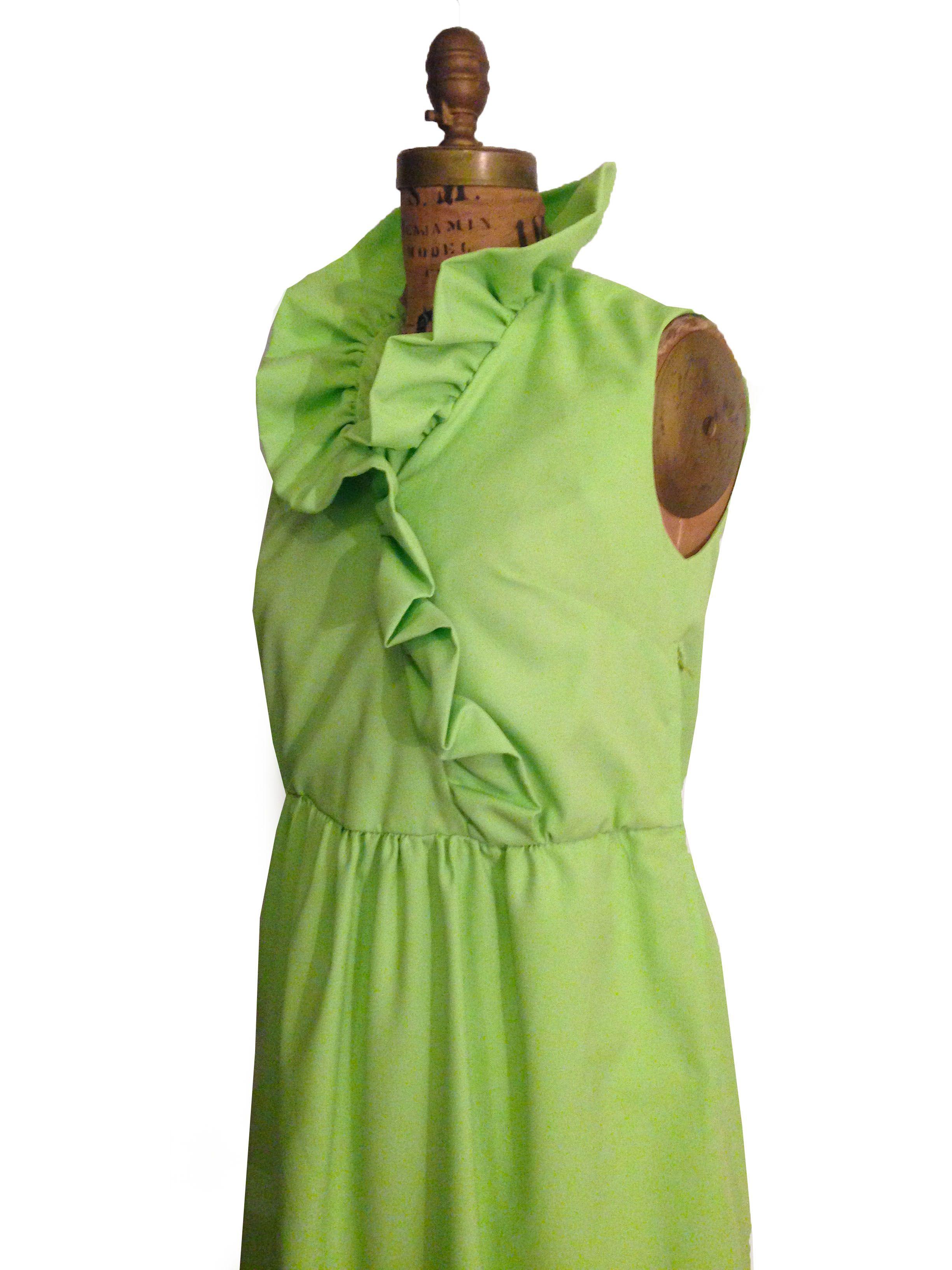 60s green dress  s AvantGarde Green Maxi Sleeveless Dress  Spring Fashion