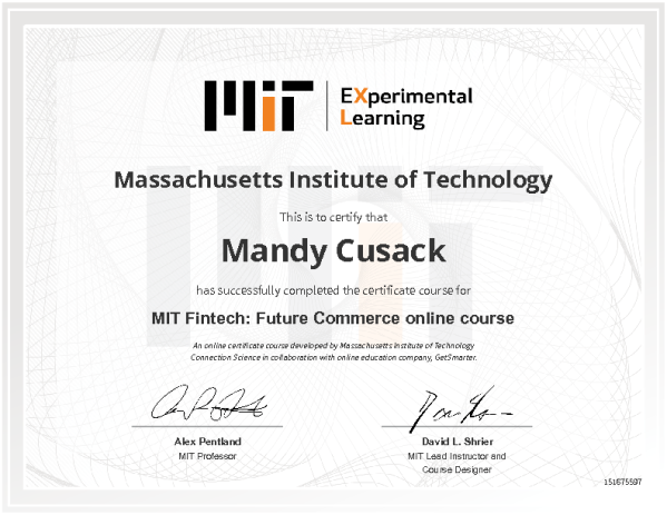 Certificate Of Completion Massachusetts Institute Of Technology Fintech Certificate Of Completion