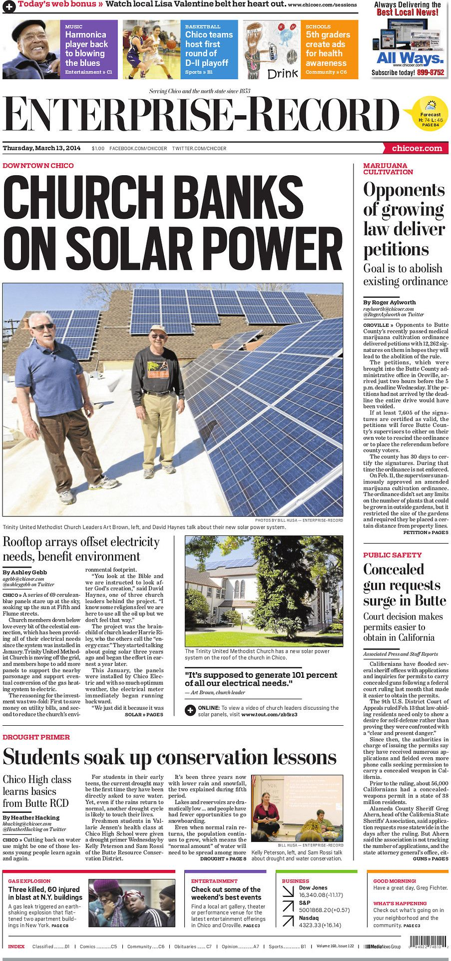 Solar panels installed on a Downtown Chico Church look to