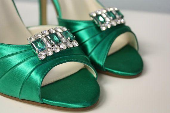 e3de3458abe8a Emerald Green Shoes- Wedding - Bridal Shoes - Emerald Green Shoes - Dyeable  - Choose From Over 100 Colors - Bows On Heels - Custom Parisxox