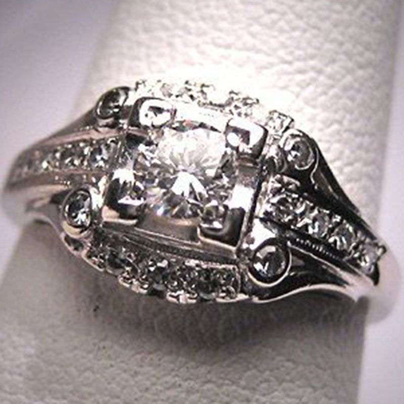 Pretty Silver Plated Ring Sapphire White Topaz Women Wedding Engagement Sz 6-10