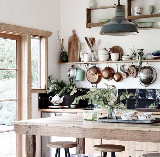 white wood plants  farmhouse kitchen inspiration