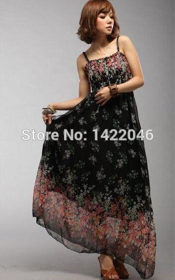 c3a9655ec262e Baru mewah wanita maxi dress, Bohemia sundresses, Bawah gaun panjang ...