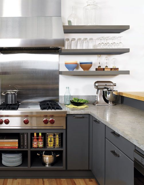 modern gray kitchen with slab door cabinets floating