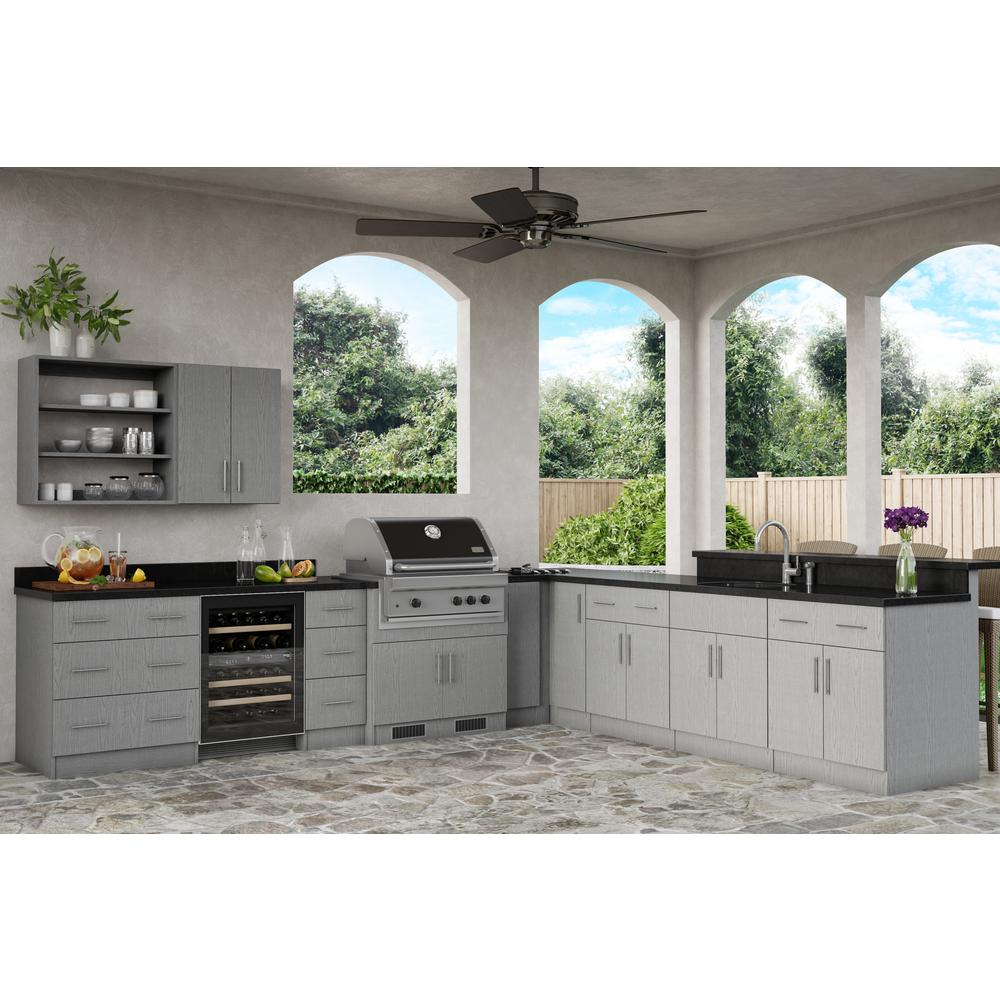 Weatherstrong Assembled 15x30x12 In Miami Open Back Outdoor Kitchen Wall Cabinet With 1 Door Right In Rustic Gray Wsw1530r Mrg The Home Depot In 2020 Rustic Outdoor Kitchens Outdoor Kitchen Design Layout