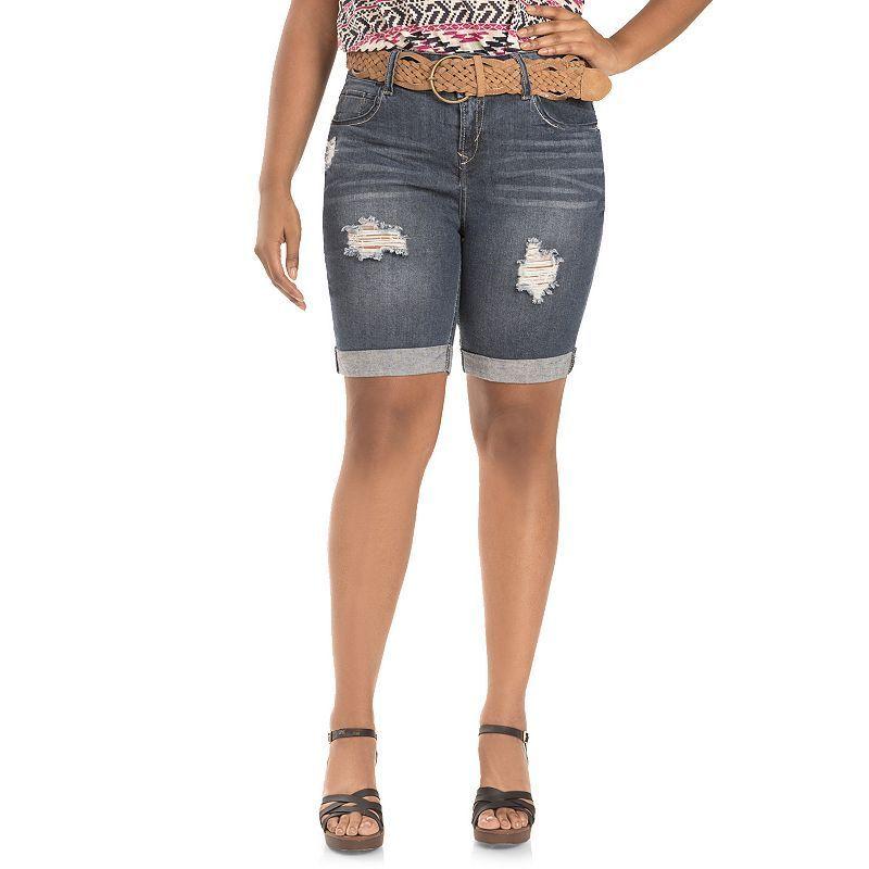 Juniors' Plus Size Wallflower Belted Ripped Denim Bermuda Shorts, Girl's,  Size: 20 W, Ovrfl Oth