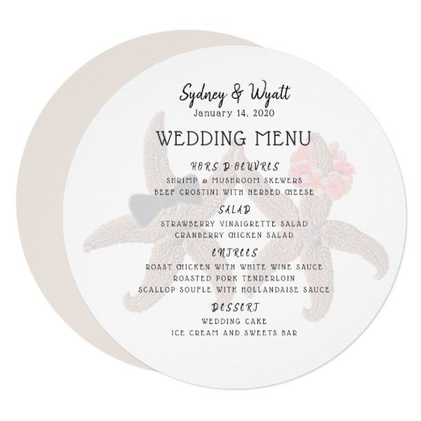 Starfish Couple Round Wedding Menu Template  Wedding Menu