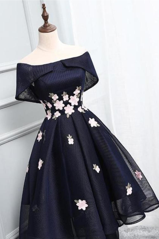 Off-The-Shoulder Handmade Flowers Asymmetrical Short High Low Homecoming Dress