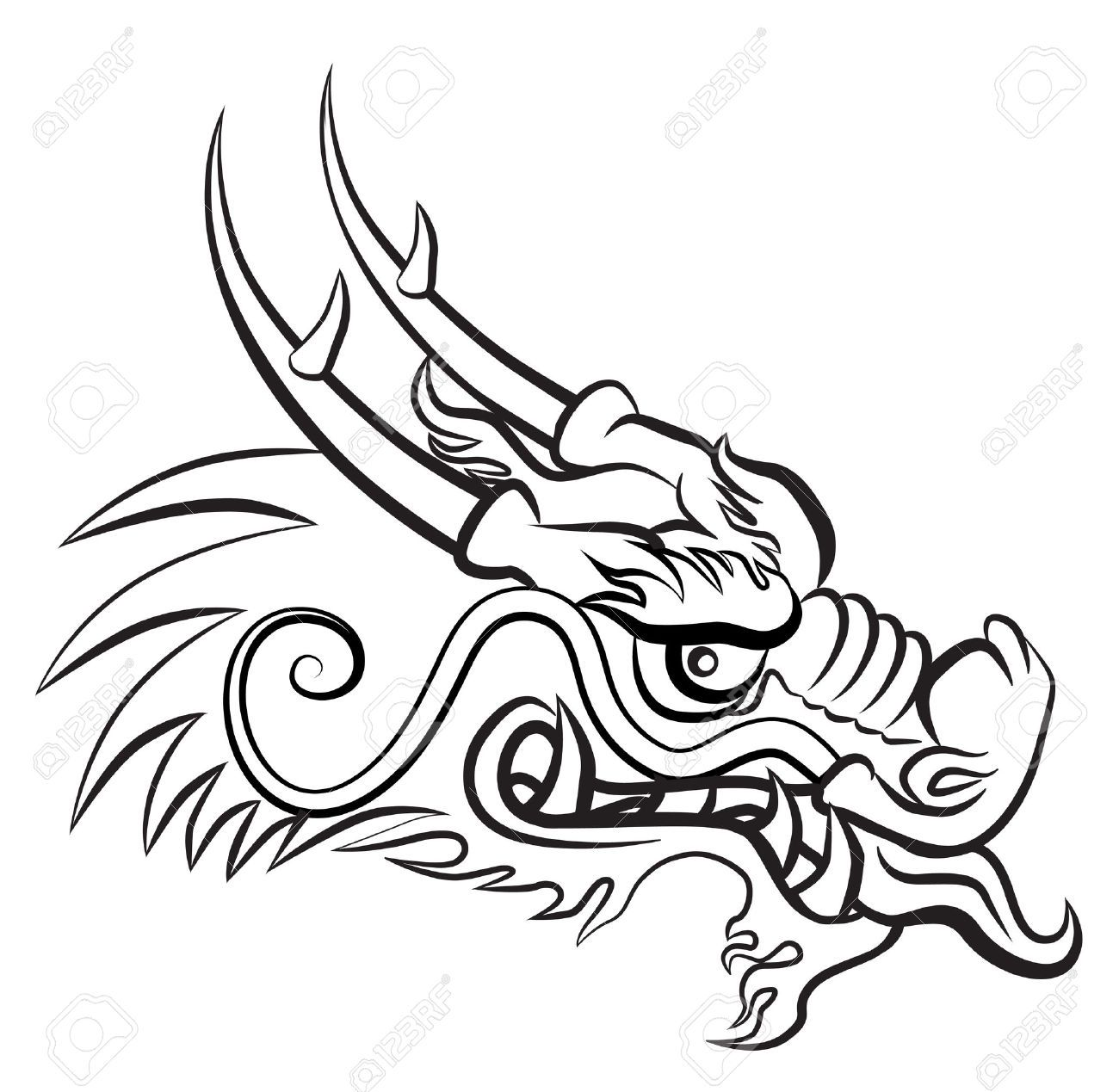 Stock Vector In 2019 Designs Chinese Dragon Drawing Dragon Head