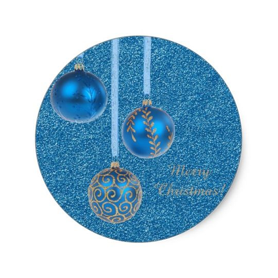 Merry #Christmas Baubles Gold Blue Glitter Classic Round #Sticker