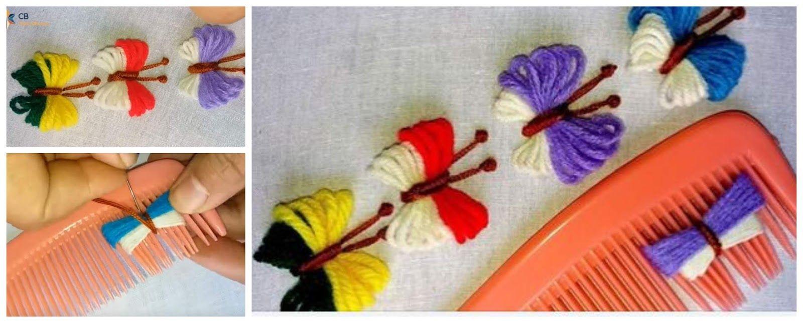 Aprende cómo hacer hermosas mariposas con un peine | Como hacer mariposas,  Rosas bordadas, Como bordar