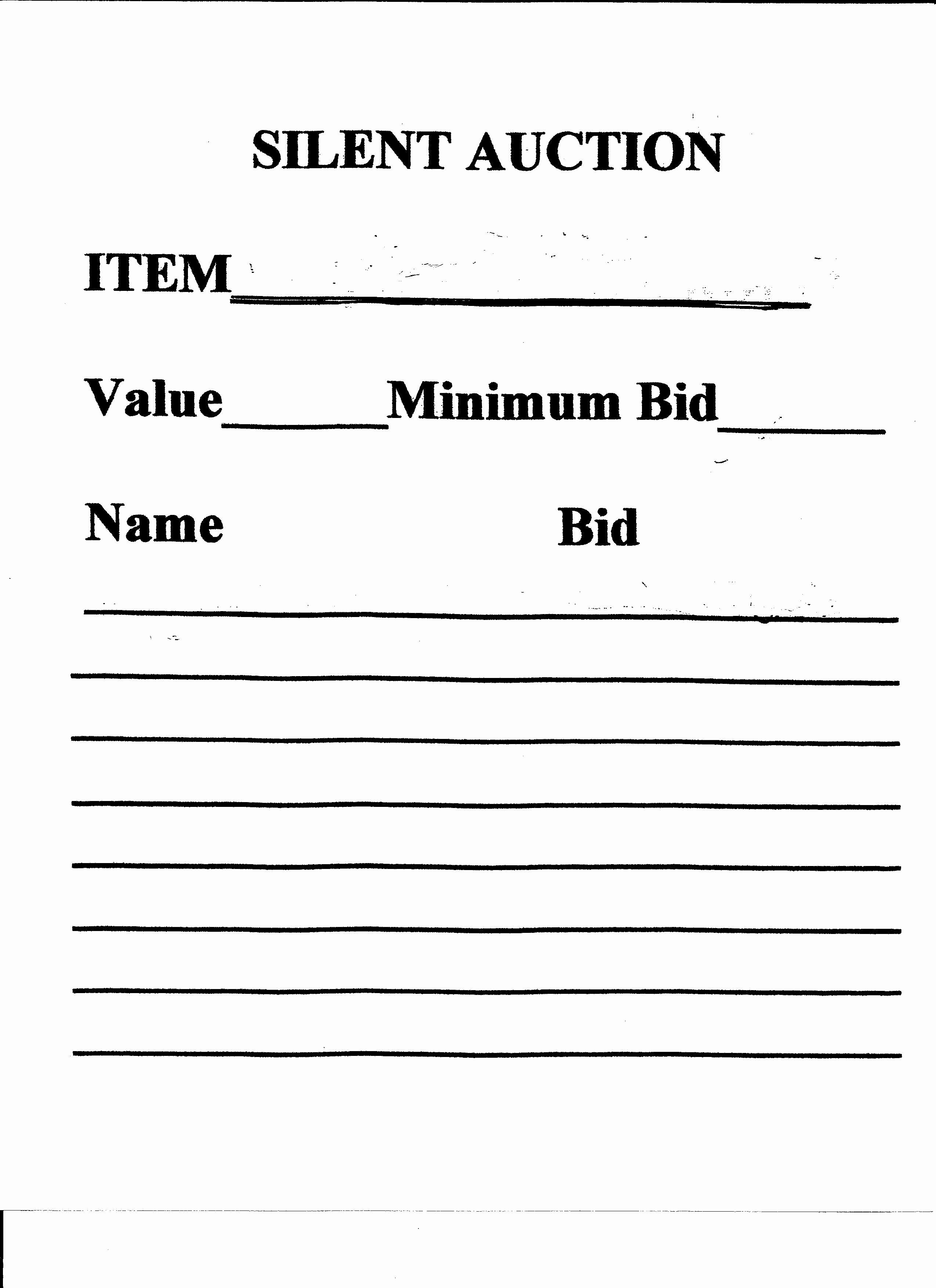 Silent Auction Receipt Template Best Of Silent Auction Form Special Events Pinterest Silent Auction Silent Auction Donations Silent Auction Bid Sheets