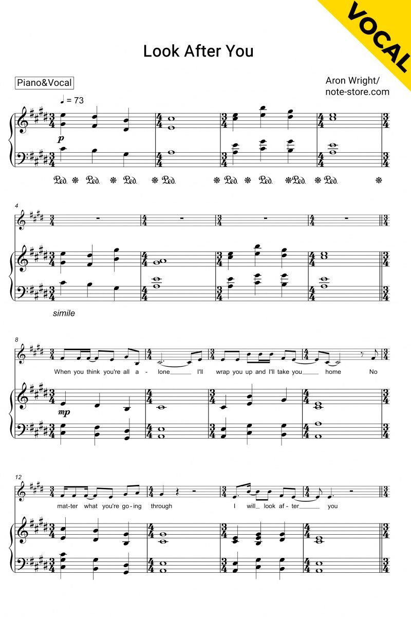 Look After You Piano Vocal Sheet Music Printable Sheet Music