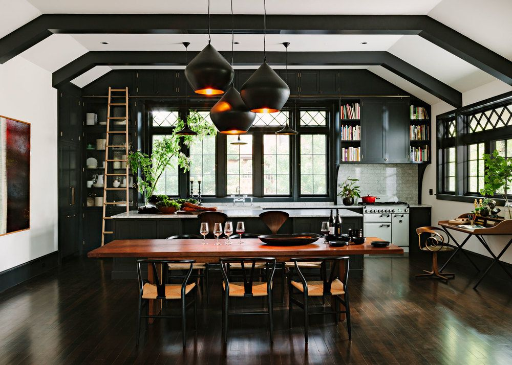 Black Kitchen With Library Ladder