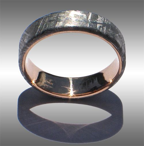 flat topped gibeon meteorite ring with 18k yellow gold lining and beautiful widmanstatten pattern mens wedding bands - Meteorite Wedding Rings