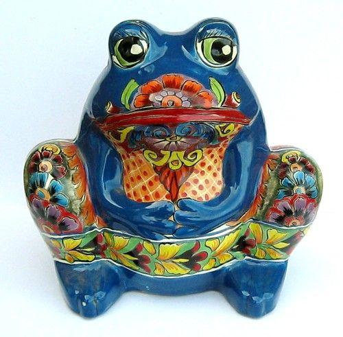 Mexican Talavera Frog Sculpture Planter Plant Pot 13