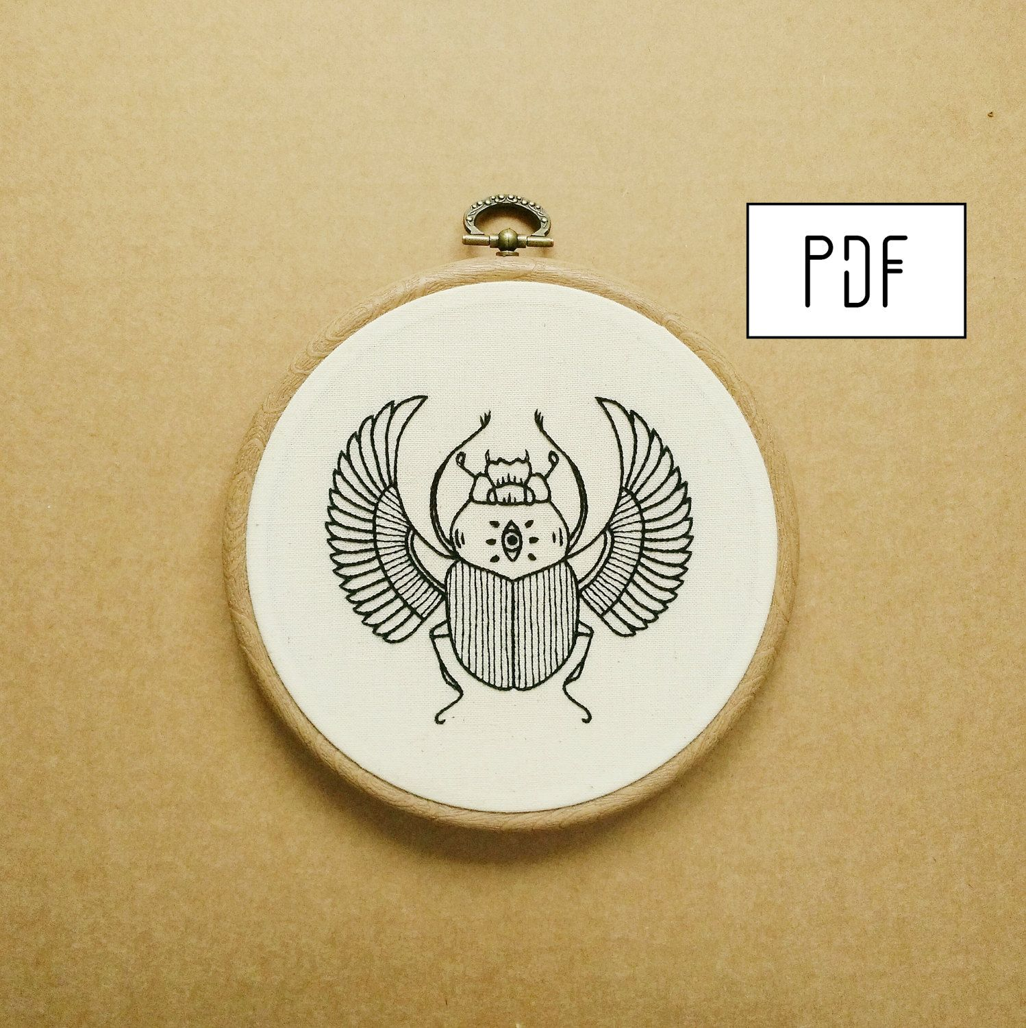Scarab Hand Embroidery Pattern (Pdf Modern Embroidery Pattern  Ancient