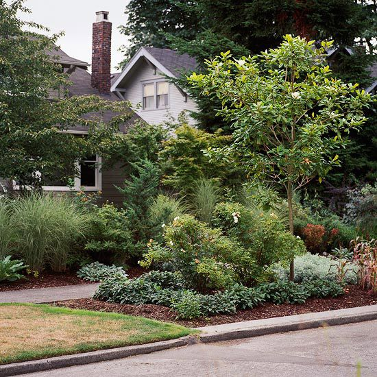 The planting between the sidewalk and street helps soften the front ...