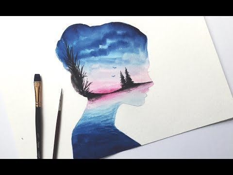 3 Watercolor Tutorial Mountain Sky Double Exposure With Steps