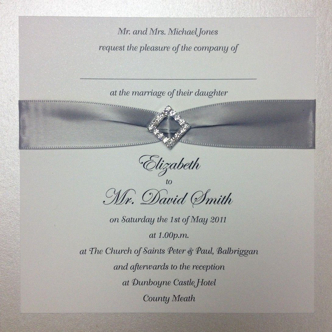 Crystal White Wedding Invitation Flat Version Www Loveletters Ie