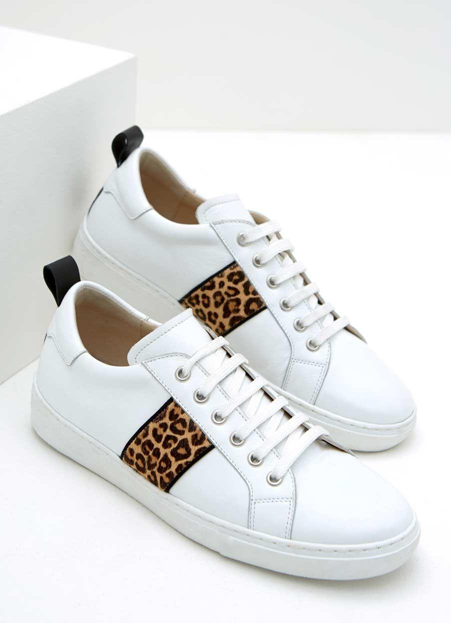 Allie White Leopard Trainer   Mint