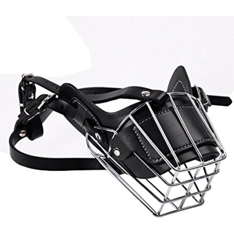 Dog Wire Basket Muzzle(TM), Loveone Adjustable Leather and Iron ...