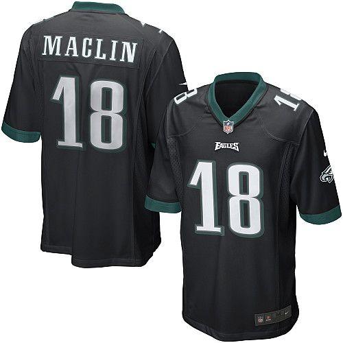 best website 79e05 be946 Nike Eagles #18 Jeremy Maclin Black Alternate Mens NFL Game ...