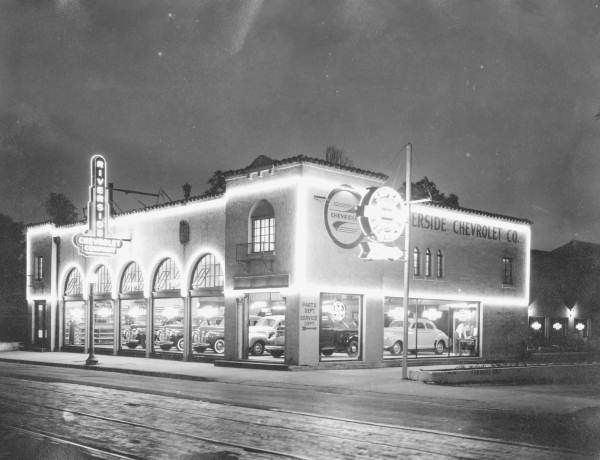 Florida Memory Night View Of The Riverside Chevrolet Jacksonville Jacksonville Florida Old Florida