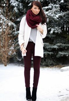 Burgundy pants and scarf