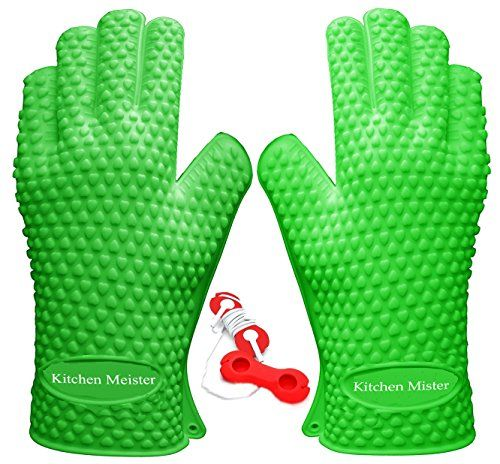 Kitchen Meister Silicone Oven BBQ Grill Cooking  Pot Holder Heat Resistant Gloves Green Set of 2 >>> Want additional info? Click on the image.